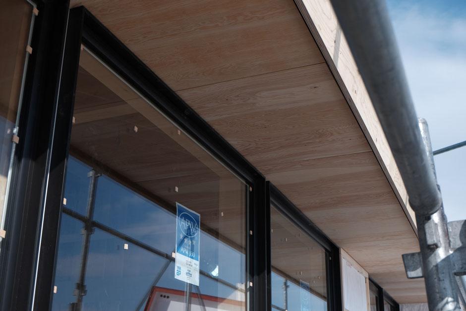 稲穂の家 軒天構造用合板仕上げ