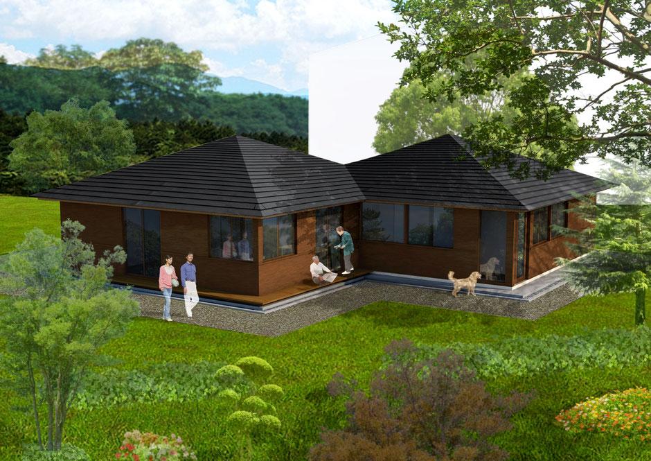 二つの方形屋根の家パース