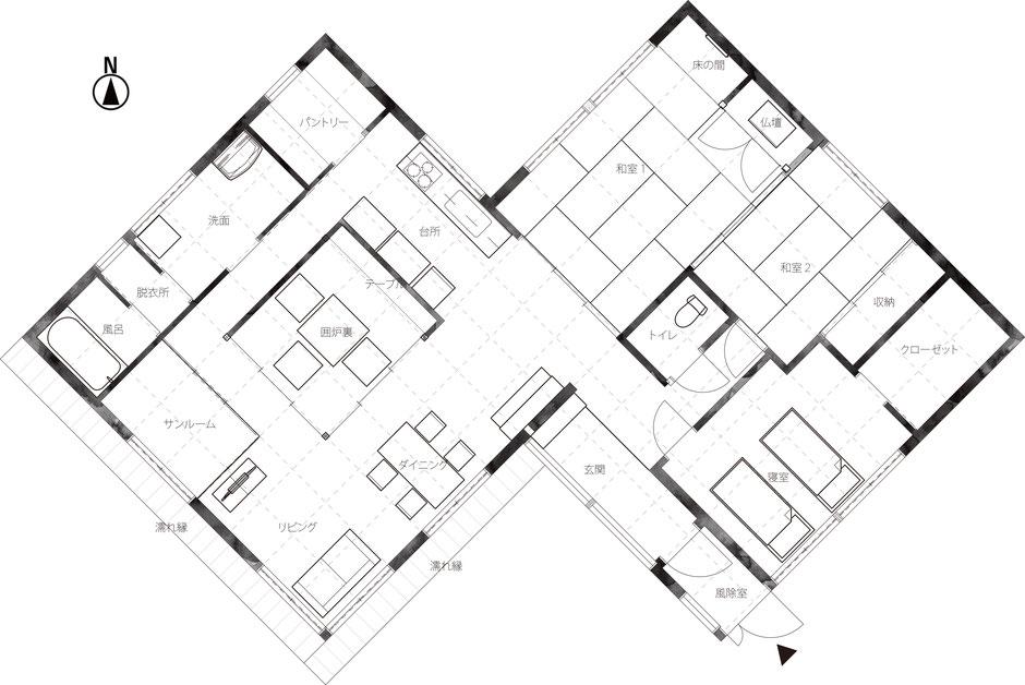 新築注文住宅の計画案平面図